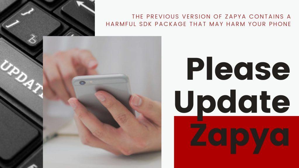 ¡Urgente! Por favor actualice su aplicación Zapya
